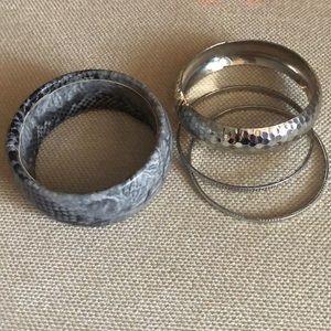 Silver and Snake Bangle Bracelet set H&M
